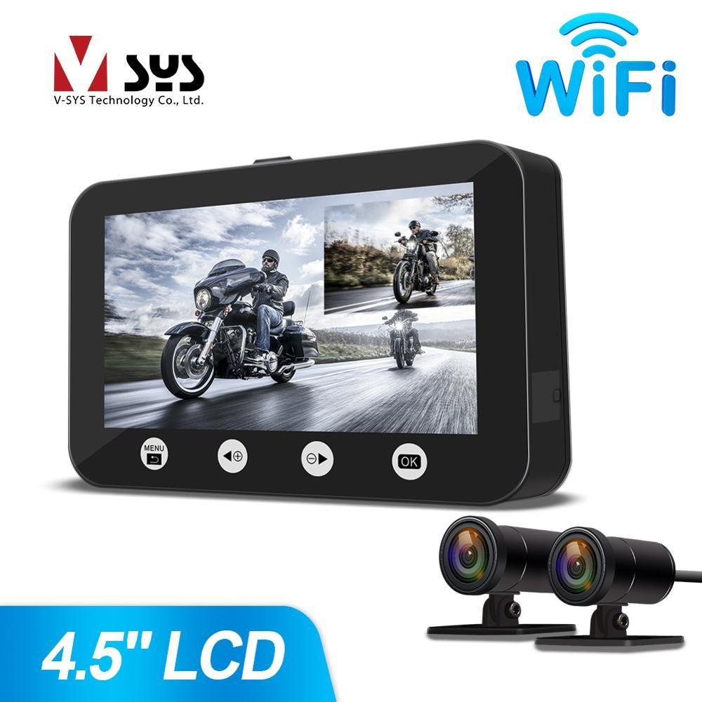 SYS VSYS P45 WiFi Dual Volle HD 1080 P Motorrad Dash Kamera DVR System 4,5 ''LCD Full Körper Wasserdicht vorne und Hinten Ansicht Objektiv