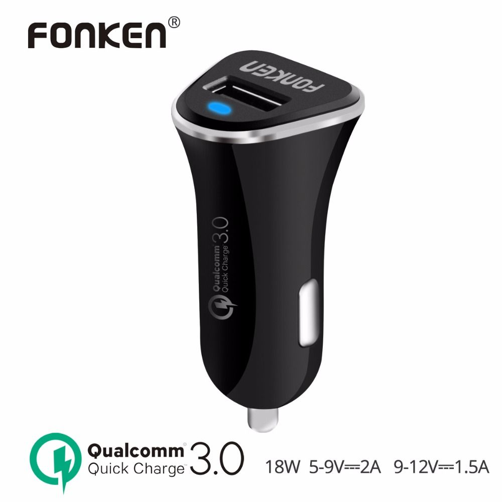FONKEN USB Car charger Quick Charge 3,0 Schnelle USB Auto-Ladegerät Intelligente IC 18 Watt 2A QC3.0 QC2.0 Auto Adapter für Handy Ladegerät