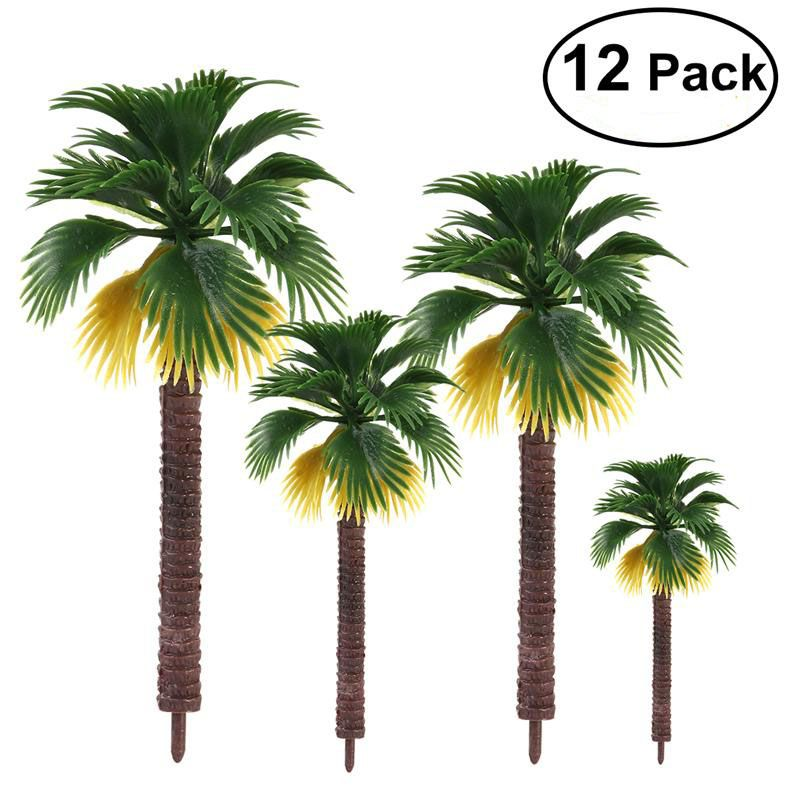 12pcs High Quality Layout Rainforest Plastic Palm Tree Leaves Diorama Scenery Home Party Decoration Toy Gift