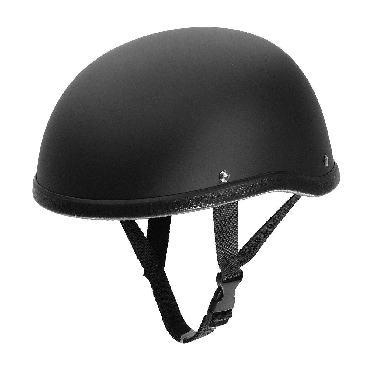 <font><b>Matte</b></font> Black Motorcycle Half Helmet Skull Cap Low Profile Novelty For Harley Chopper