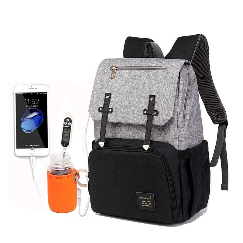 2019 Diaper Bag Mummy Daddy Backpack Baby Stroller Bag Waterproof Oxford Handbag Nursing Nappy Bag Kits USB Rechargeable Holder