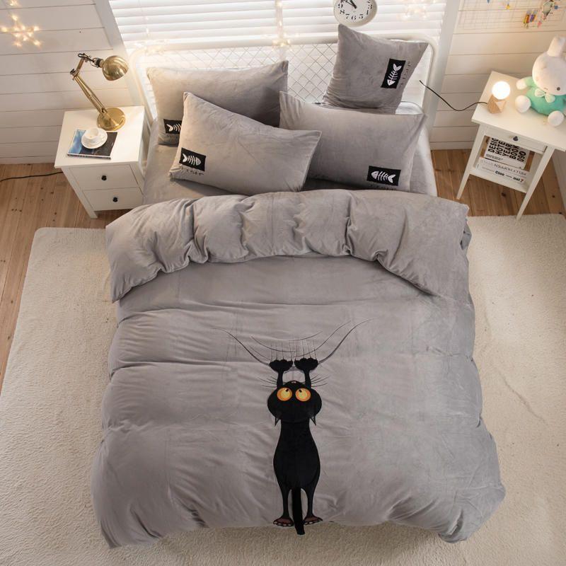 Twin Königin König größe Fleece Bettwäsche Set Kinder Bett set Bett blatt Ausgestattet blatt Bettwäsche bettbezug parrure de lit ropa de cama
