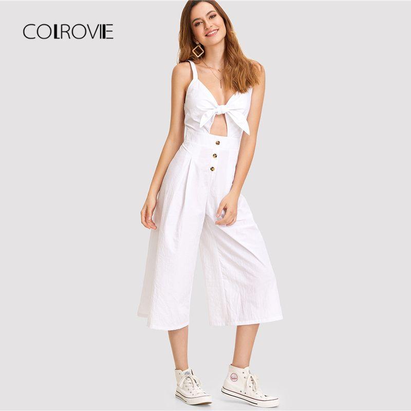 COLROVIE White Knot Cutout <font><b>Front</b></font> Wide Leg Jumpsuit 2018 Summer Deep V Neck Sleeveless Bow Tie Jumpsuit Vacation Women Jumpsuit
