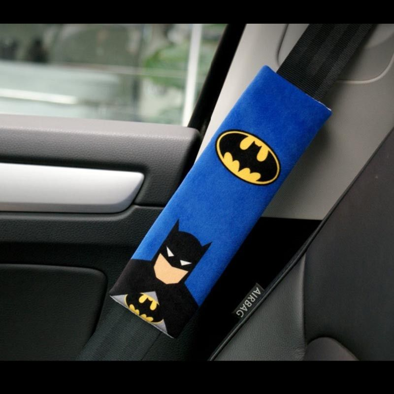 1 paire bande dessinée voiture Sefety housse de ceinture de sécurité Batman Superman Auto ceinture de sécurité épaule Protection rembourrage hiver peluche voiture ceintures de sécurité