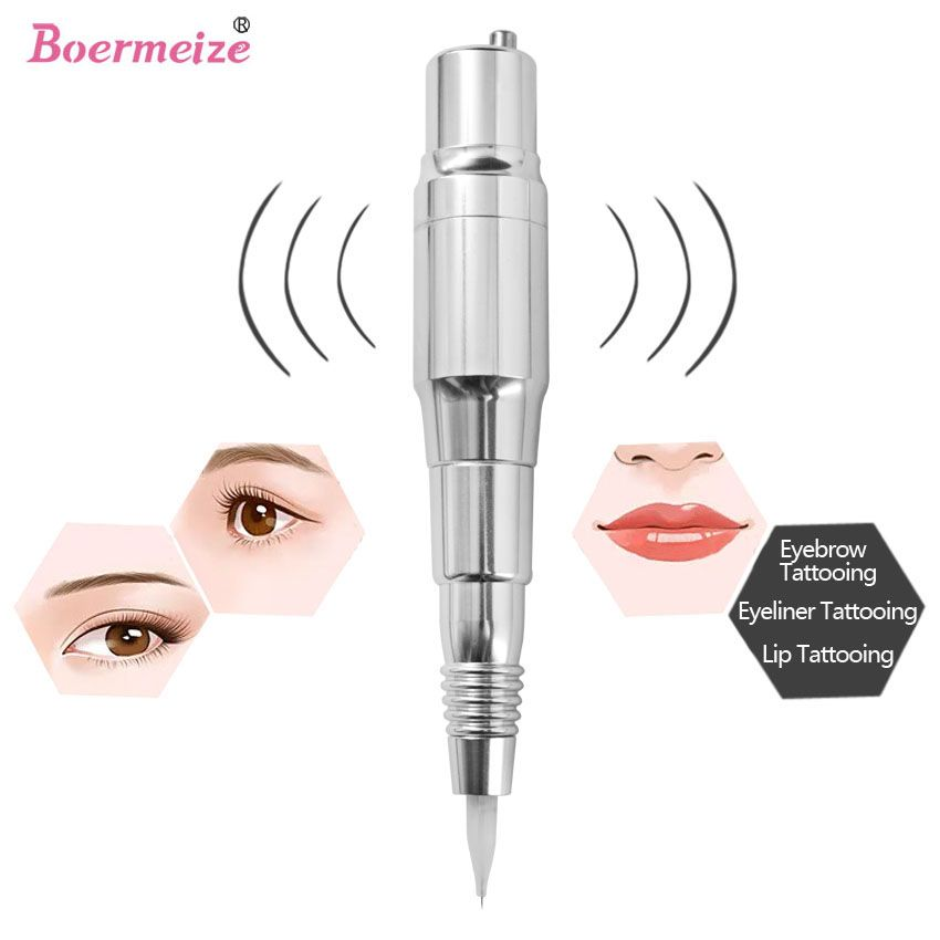 Offre Spéciale Numérique Maquillage Permanent Pen machine Haute qualité Professionnel Pour Sourcils Lèvres Suisse Moteur De Tatouage Gun + 5 Aiguilles + 5 pointe