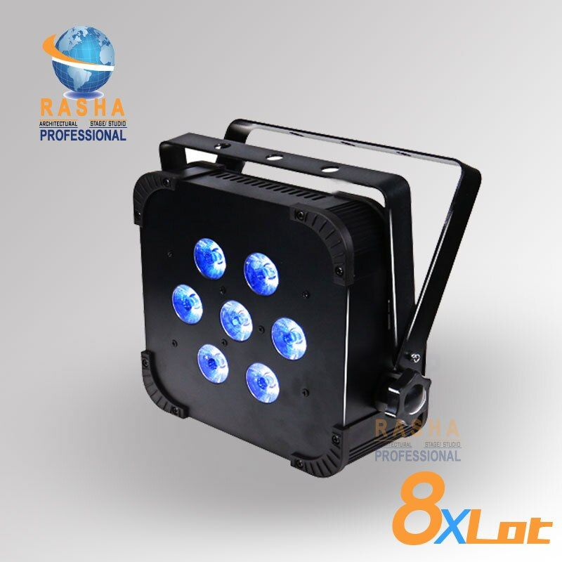 8X Lot Free Shipping- 2.4G Built in DMX WiFi RGBAW SLIM/FLAT Par Profile-7Pcs Leds *15W-RGBAW DMX Wireless Flat par light