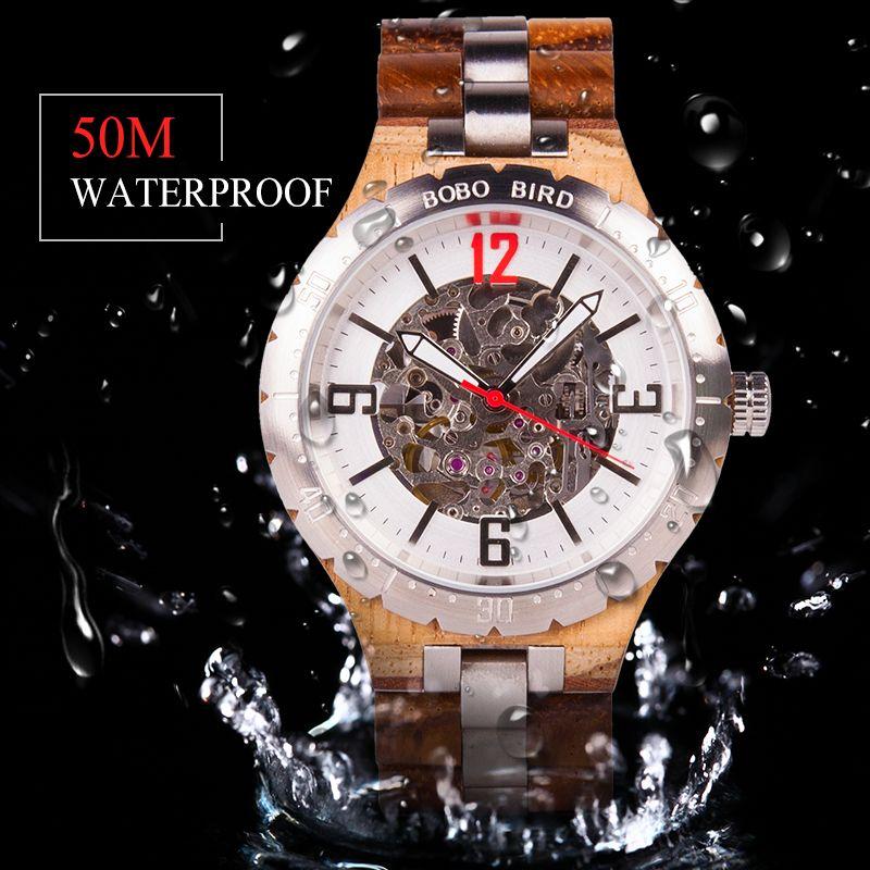 BOBO VOGEL Luxus Mechanische Uhr Männer Wasserdicht Edelstahl Automatische Uhr uhren automaticos de hombre