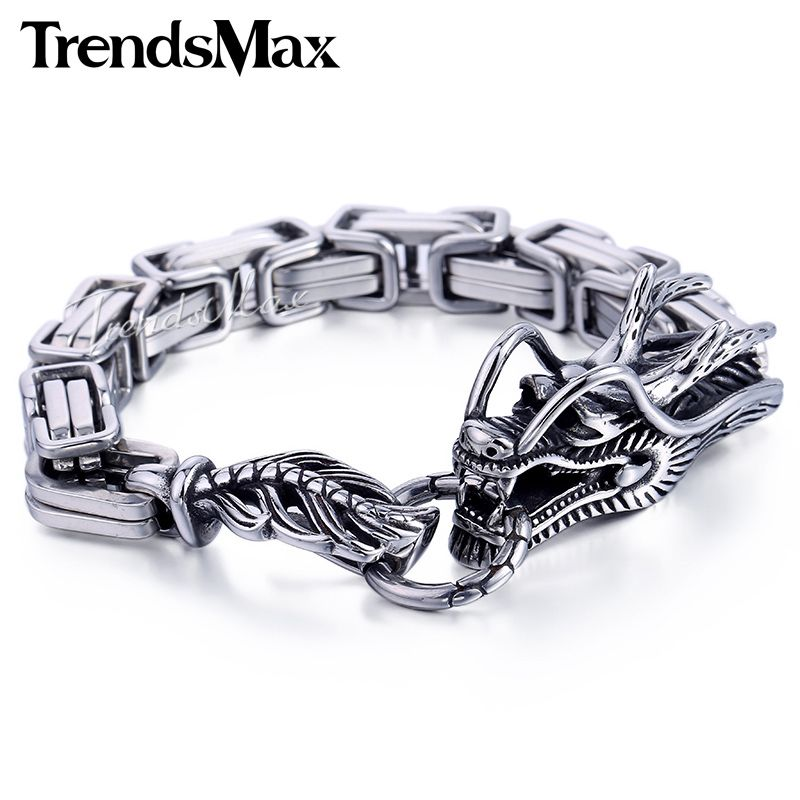 Trendsmax Animal Dragon Head Braid Byzantine Wheat Cable Link 316L Stainless Steel Bracelet Mens Chain Jewelry HB448-HB450