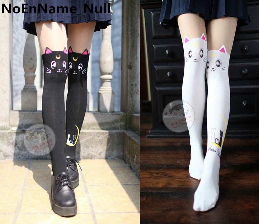 Anime Sailor Moon Cosplay Luna Katze Muster Strumpfhosen Socken Strümpfe 3D Print Schwarz Weiß