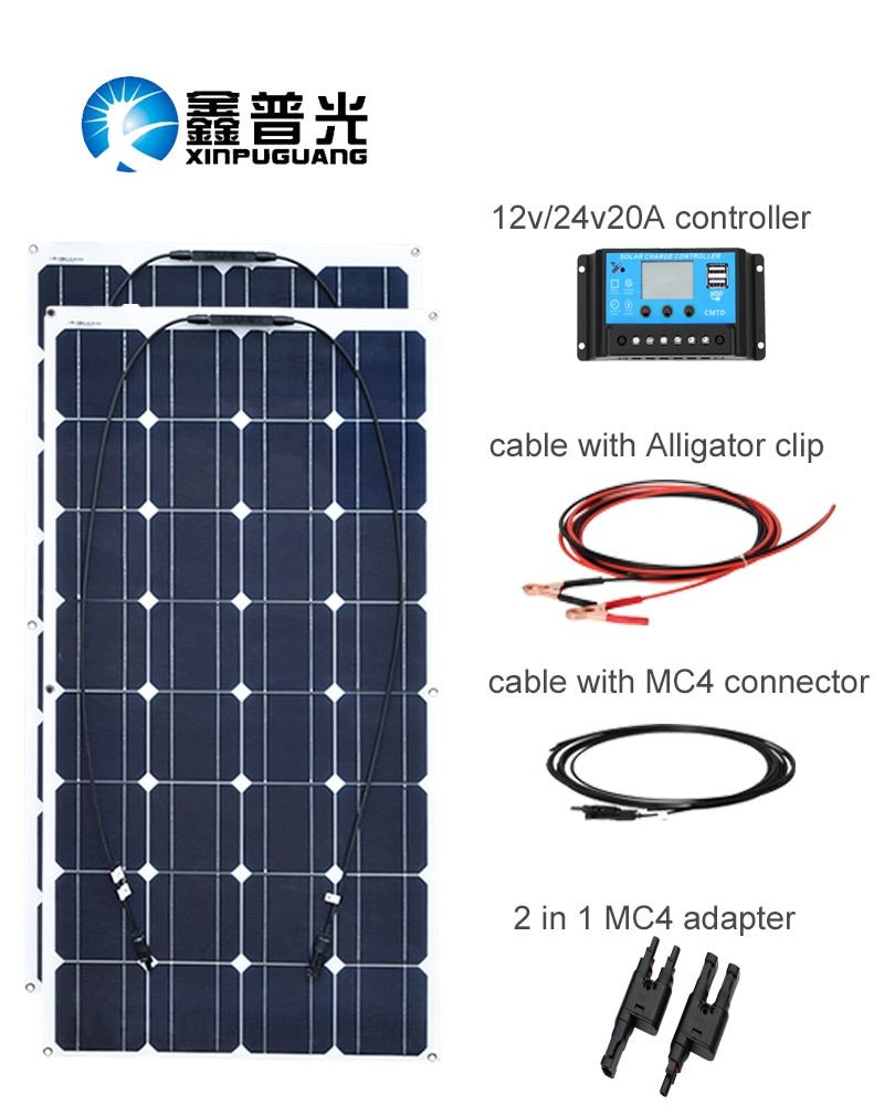 XINPUGUANG 200w Solar panel system 2 pcs 100W Flexible solar panels 12v or 24v solar Controller Connector Photovoltaic wire