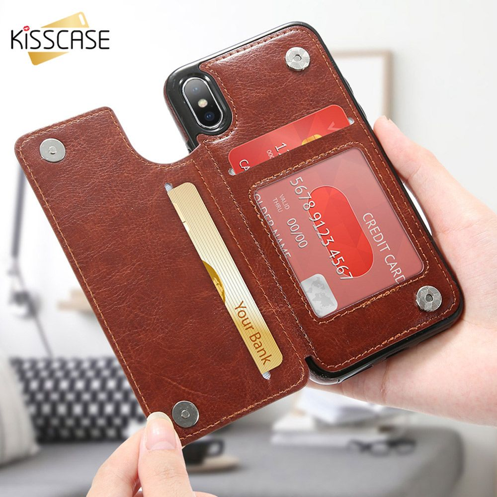 KISSCASE Flip PU Leather Case For iPhone X 7 8 6 6S Plus XR XS MAX Vintage Phone Cases For iPhone 5 5S SE Back Covers Coque Capa
