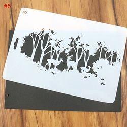 1 PC Diy Pohon Natal dan Rusa Pola Lukisan Template Journal Stencil Set Scrapbooking DIY Kartu Kantor Sekolah Supply
