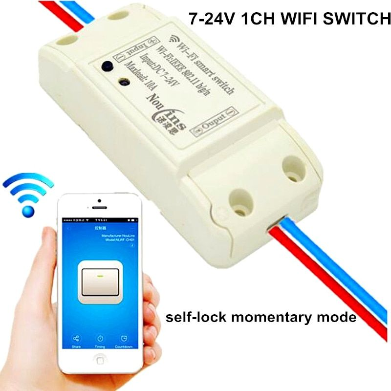 1 Way 7V-24V DC 10A 9V 12V 24V WIFI Smart Home Switch APP Remote Control Relay Momentary Self-lock Module Share Same SONOFF APP