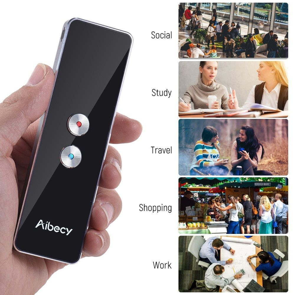 Aibecy Real-time Multi <font><b>Language</b></font> Translator Speech/ Text Translation Device with APP for Business Travel English French Spanish