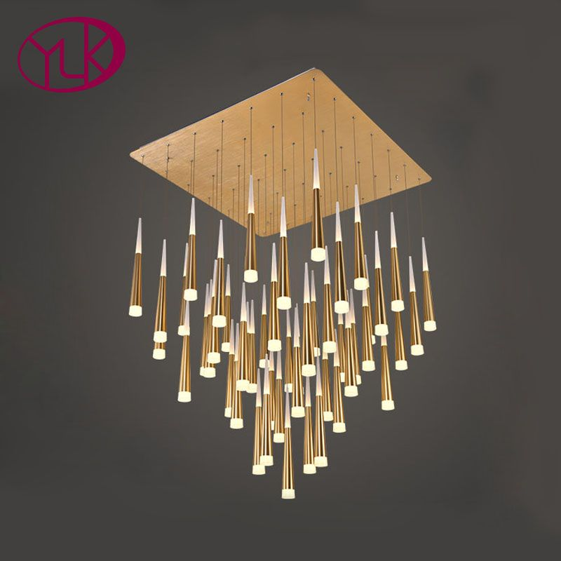 Youlaike Modern LED Chandelier For Living Room Long Staircase Hanging Lighting Fixture Gold/Silver Home Lustre