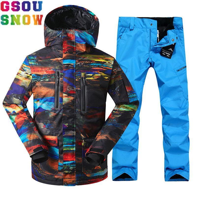 GSOU SNOW Brand Ski Suit Men Ski Jacket Pants Waterproof Sets Snowboard Cheap Male Mountain Skiing Suits Outdoor Sport Clothing
