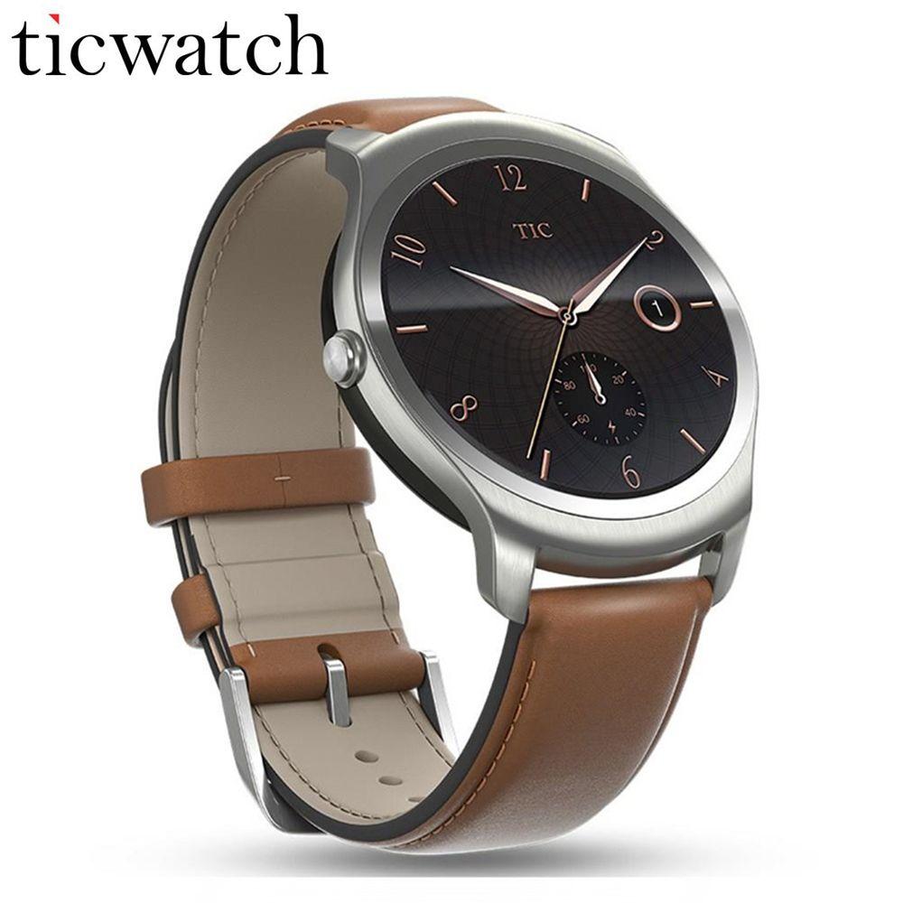 Smartwatch Telefon Ticwatch2 MT2601 1,2 GHz 512 Mt RAM 4G ROM 1,4 ''GPS Gesundheit Tracker IP65 Wasserdichte Tragbare geräte Braunen Gürtel