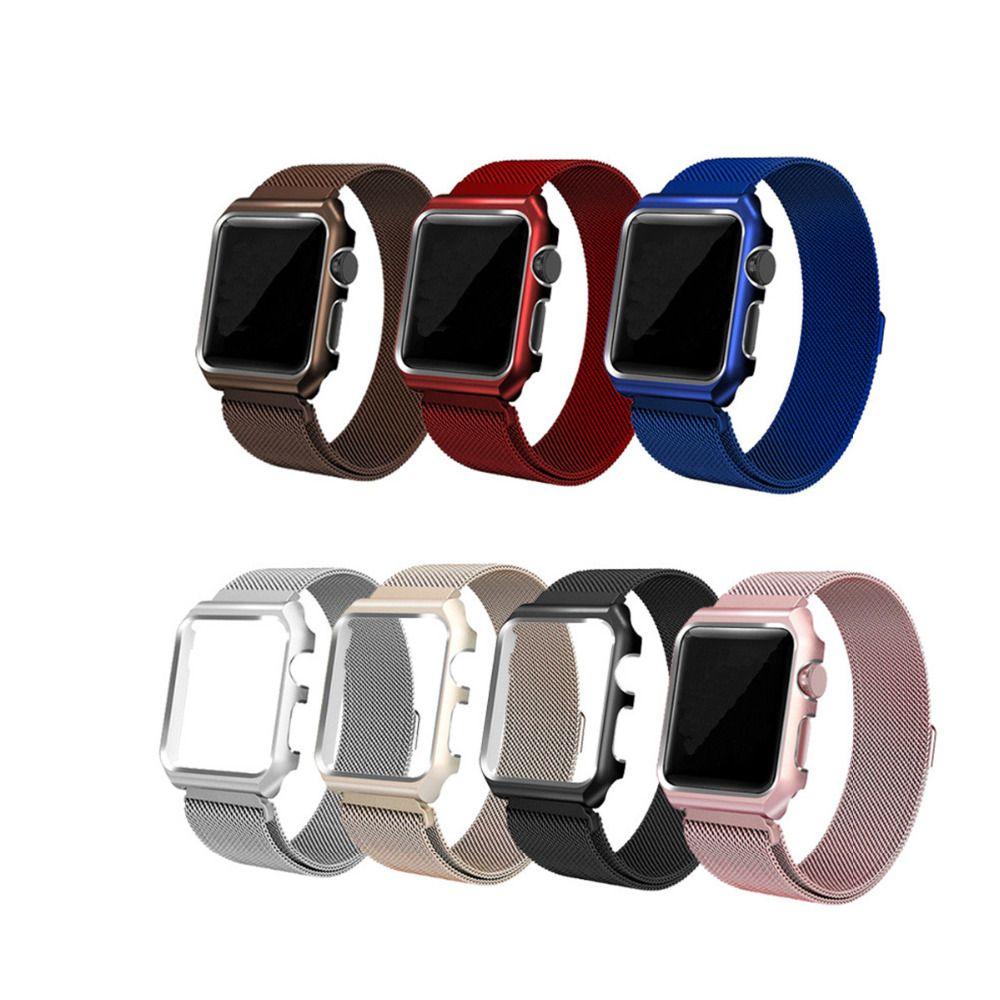 LNOP Milanese Boucle Sangle Pour Apple Montre bande 42mm/38mm iwatch 3 2 1 bracelet Lien Bracelet En Acier Inoxydable bande avec cas