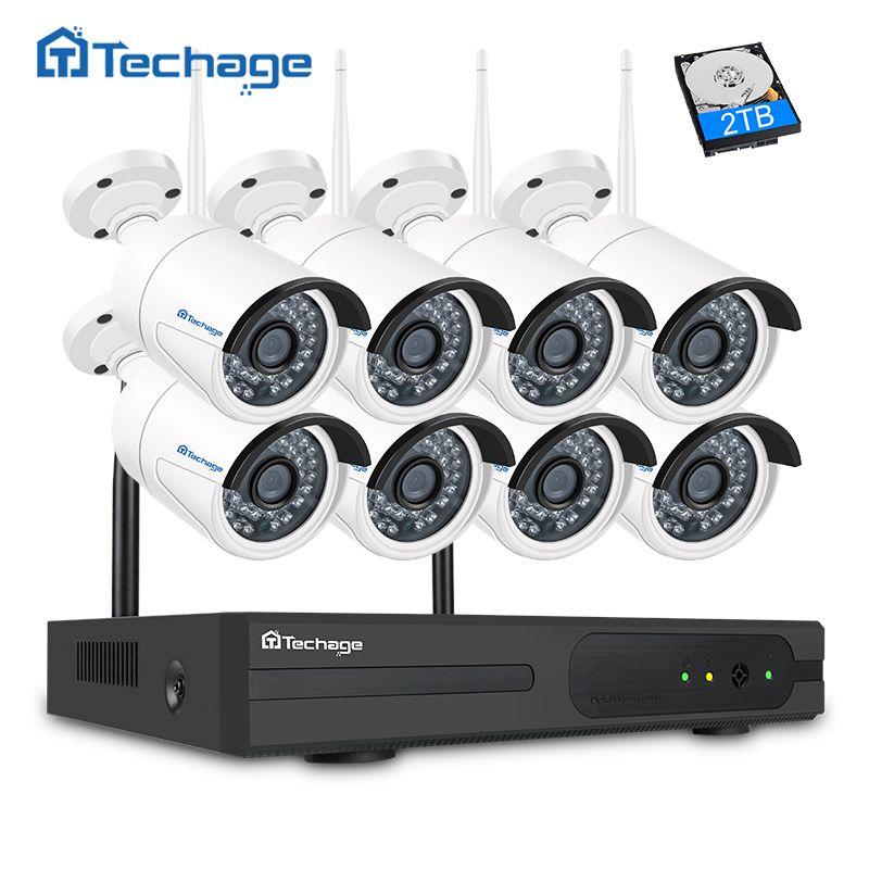 Techage 8CH 1080P Wireless NVR Kit Wifi CCTV System 8PCS 2MP Outdoor Security IP Camera P2P Remote View Video Surveillance Set