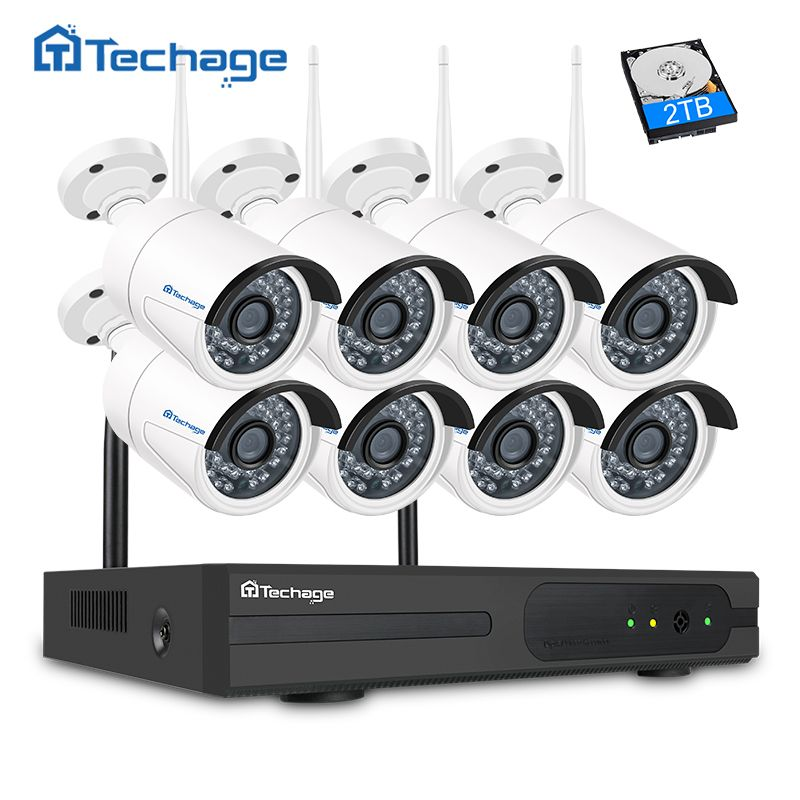Techage 8CH 1080P Wireless Security System Wifi NVR Kit 8PCS 2MP Indoor Outdoor CCTV Camera P2P Video Surveillance System Set