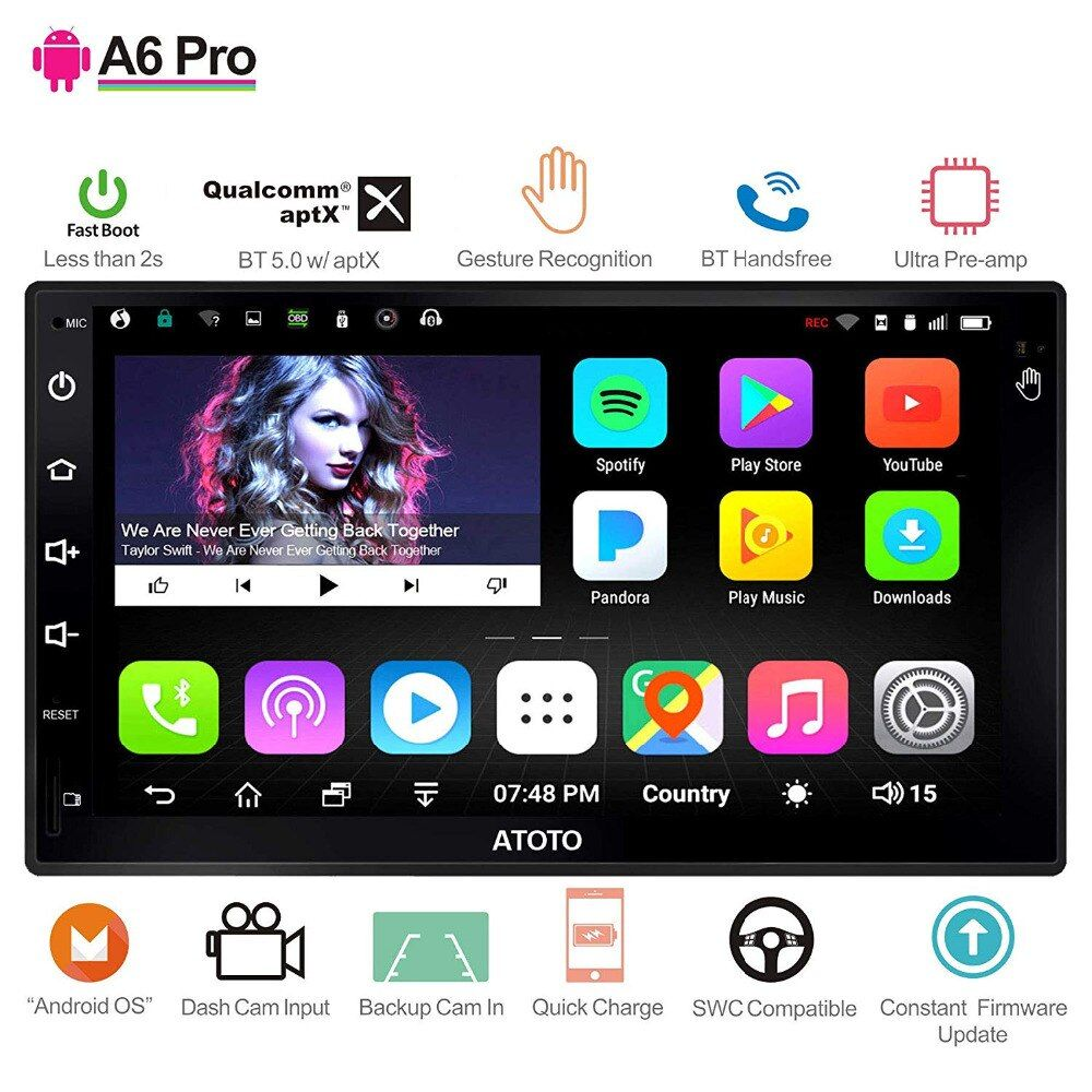 ATOTO A6 2 Din Android Auto GPS Stereo Player/2x Bluetooth/A6Y2721PR-G/Hände Geste Betrieb/Indash doppel din Radio/WiFi USB