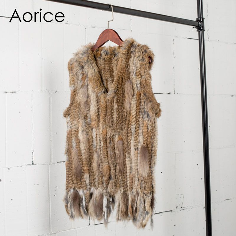 VR031 Knit gestrickte handgemachte kaninchenfell weste ärmellose kleid weste 3 farbe