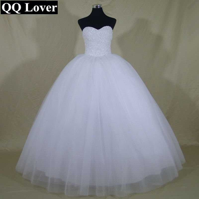 QQ Lover 2018 Robe De Mariage Princess <font><b>Bling</b></font> <font><b>Bling</b></font> Luxury Crystals White Ball Gown Wedding Dress Custom Made Vestido De Noiva