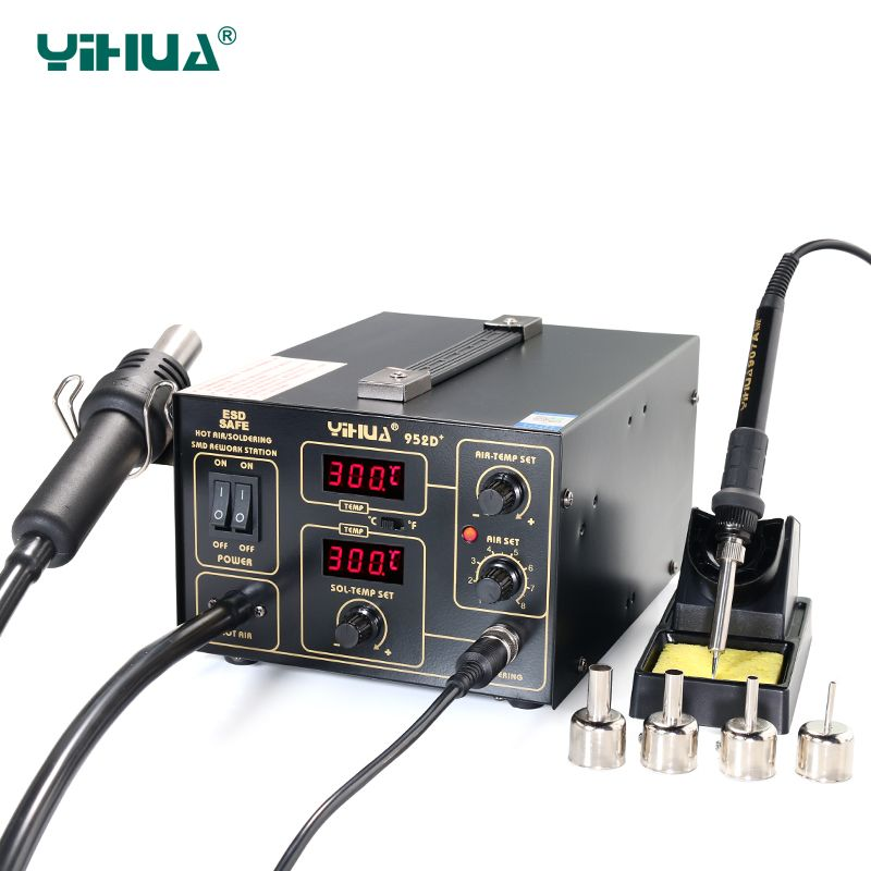 YIHUA 952D+ Soldering Station Hot Air With 4 Nozzles Pump Type Soldering Station For Phone Repair