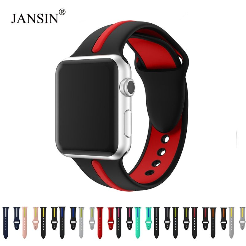 JANSIN Silicone band for apple watch series 4 3 2 1 sport band for iwatch 38mm/42mm/40mm/44mm strap strape colorful replacement