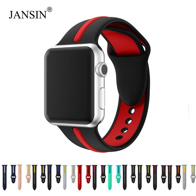 JANSIN bande Silicone pour apple watch série 4 3 2 1 bande sport pour iwatch 38mm/42mm/40mm/44mm sangle sangle remplacement coloré