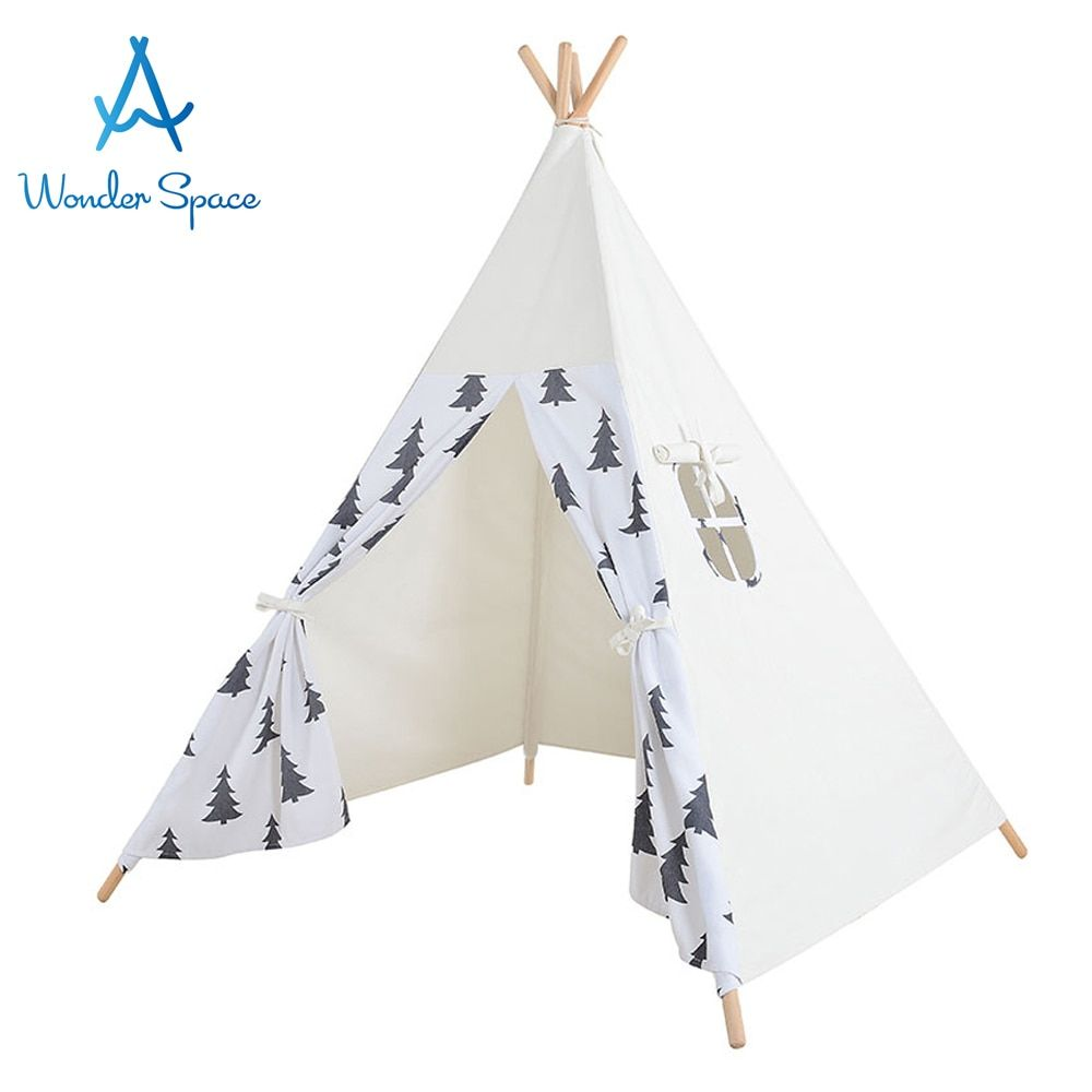 Kids Teepee Play Tent 100% Cotton Canvas Large Premium Handcraft Children Tipi Playhouse Indoor Outdoor Toy Boys Girls Baby Gift