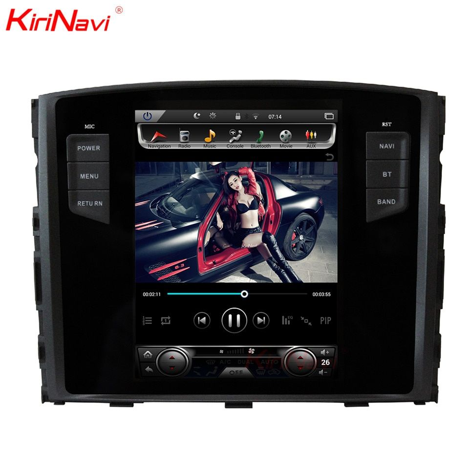 KiriNavi Vertical Screen Tesla Style Android 7.1 10.4 Car Radio For Mitsubishi Pajero Multimedia DVD GPS Support Rockford System