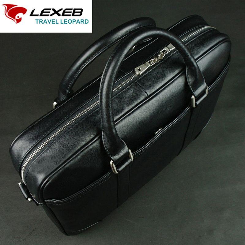 Lexeb marca los hombres de cuero de grano completo maletín 15 pulgadas ordenador portátil de alta calidad casual Oficina Bolsas para hombres 42 cm longitud negro