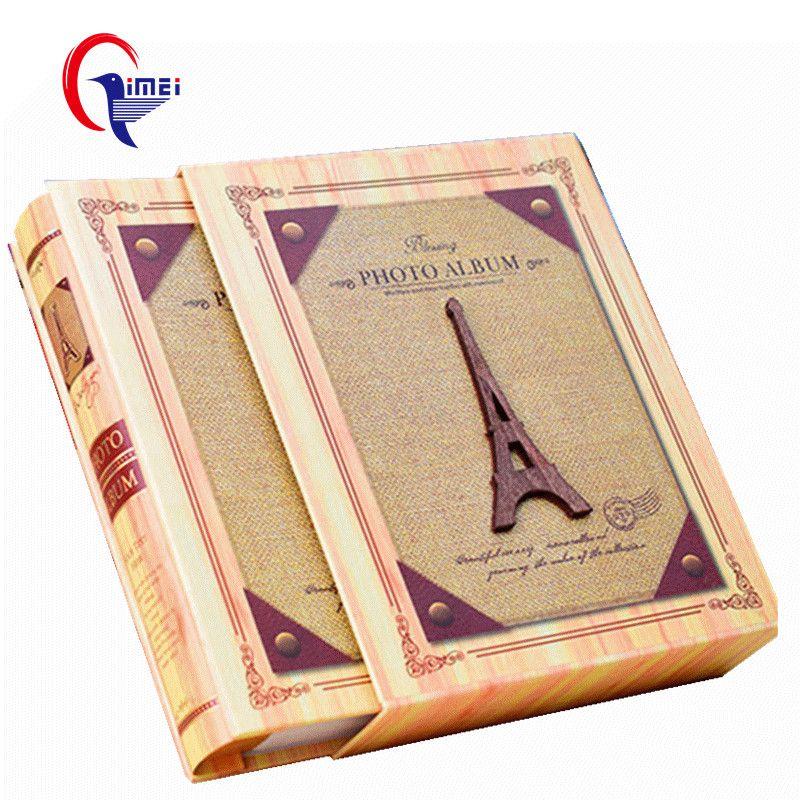 19 couleurs Rétro Creative Photo Encadrée Album 4D Grand 6 pouces Tour Eiffel Couverture Interleaf Type Lâche-feuille Annuaire 40% Off