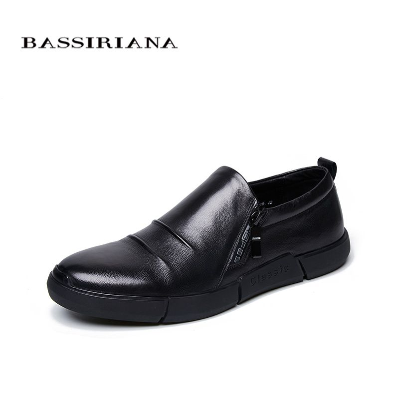 2018 New Men's Casual Shoes Pure Leather Side Latch Black39-45 Sizes Free Shipping