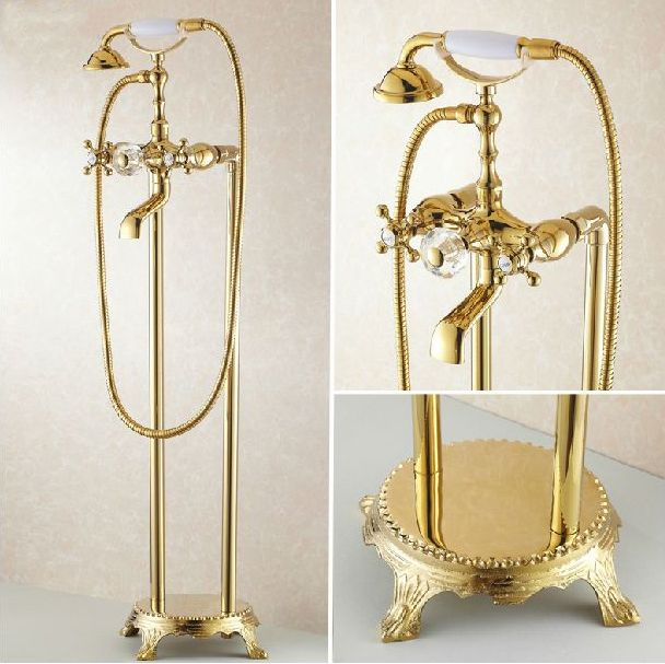 Badewanne Armaturen Bad Gold Bodenständer Armaturen Telefon Typ Bad Dusche Mixer Messing Dusche Set Luxus Badewanne Wasserhahn HJ-5028K