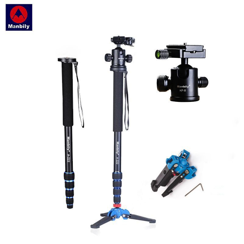 Manbily A-222 165cm/65 Portable Professional DSLR Camera Monopod&M-1 Base head ball Mini tripod Stand For Canon Nikon phone DV