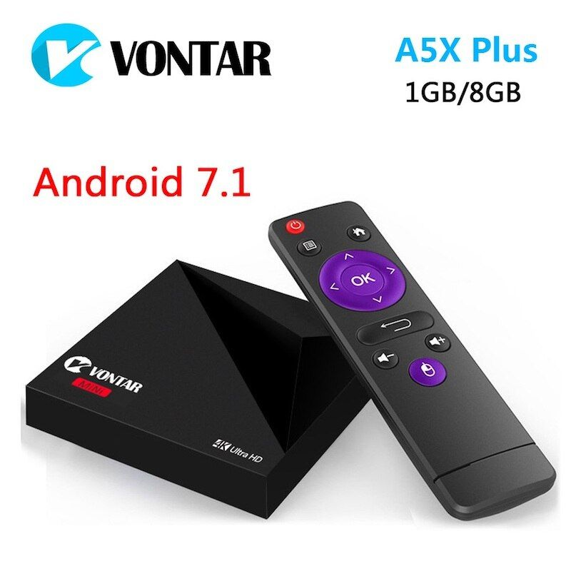 Mini Android 7.1 Nougat VONTAR A5X Plus RK3328 Rockchip TV BOX 1GB 8GB <font><b>2.4G</b></font> WIFI 100M LAN HD2.0 USB3.0 4K VP9 HDR10 Media Player