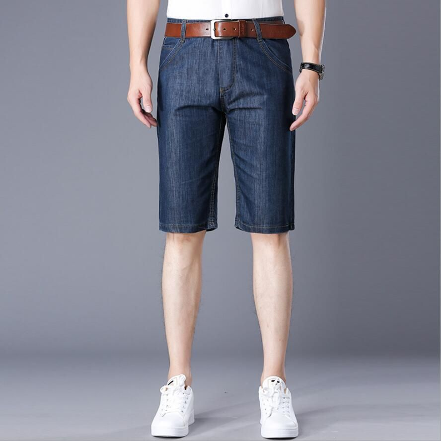 Summer Men's Casual Travel Lightweight Short Jeans Solid Color Beach Vacation Fifth Pants
