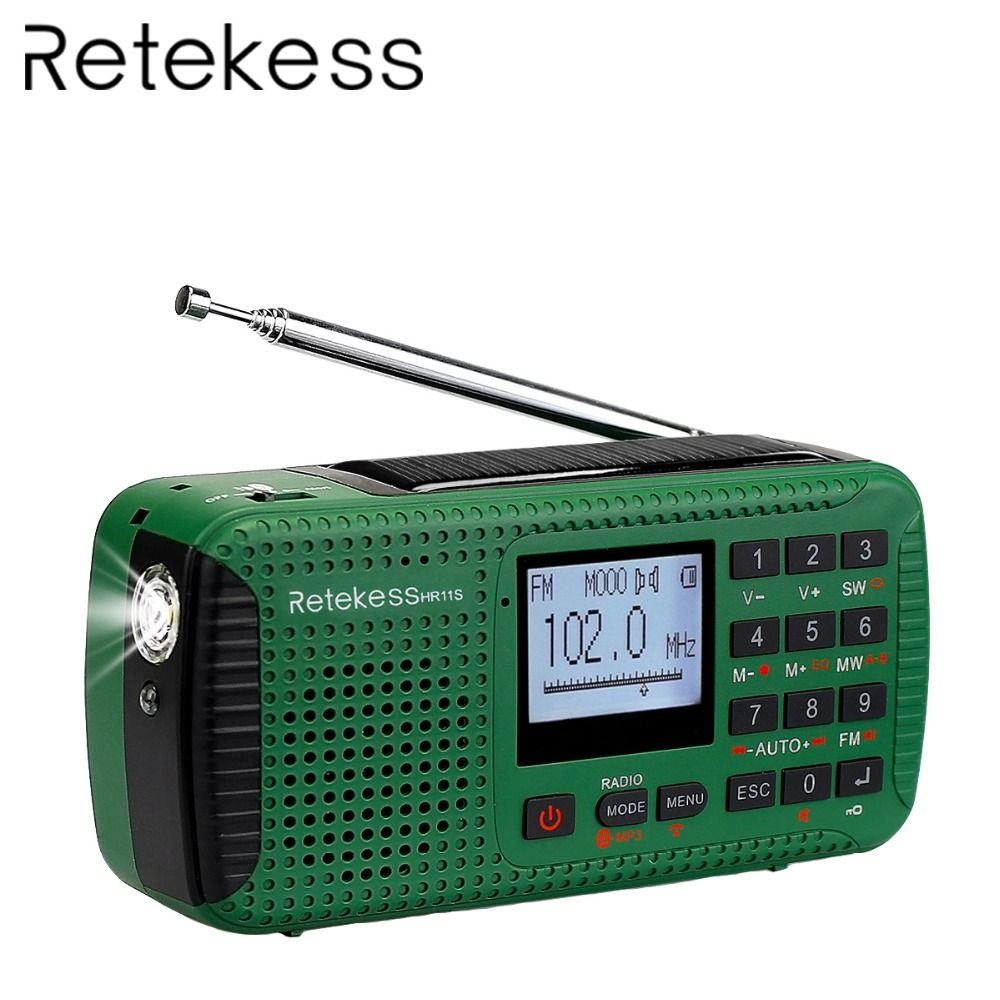 RETEKESS HR11S Portable Radio Hand Crank Solar Emergency Radio Receiver FM MW SW With Bluetooth MP3 Player Digital Recorder