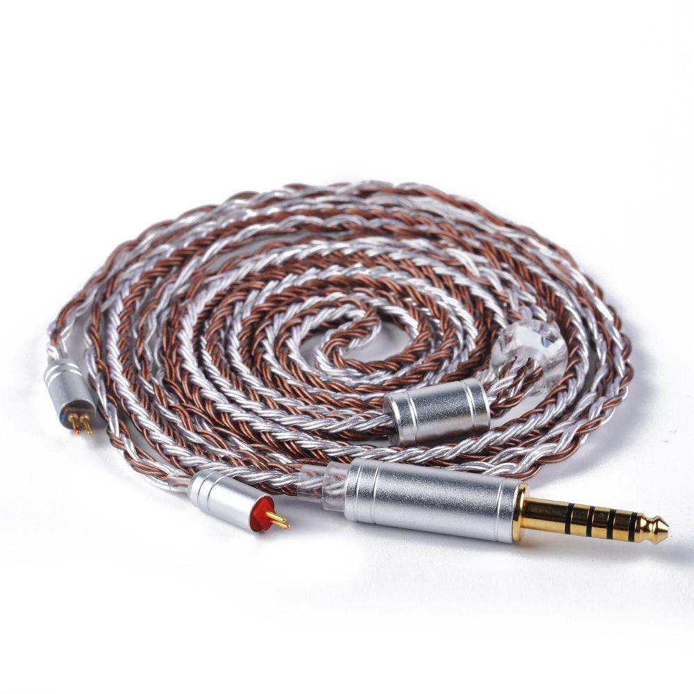 AK Yinyoo 16 Core Kupfer Braun Silber Überzogene Kabel 2,5/3,5/4,4mm Ausgeglichen Kabel Mit MMCX/ 2pin Stecker für KZ TRN X6 CCA C16