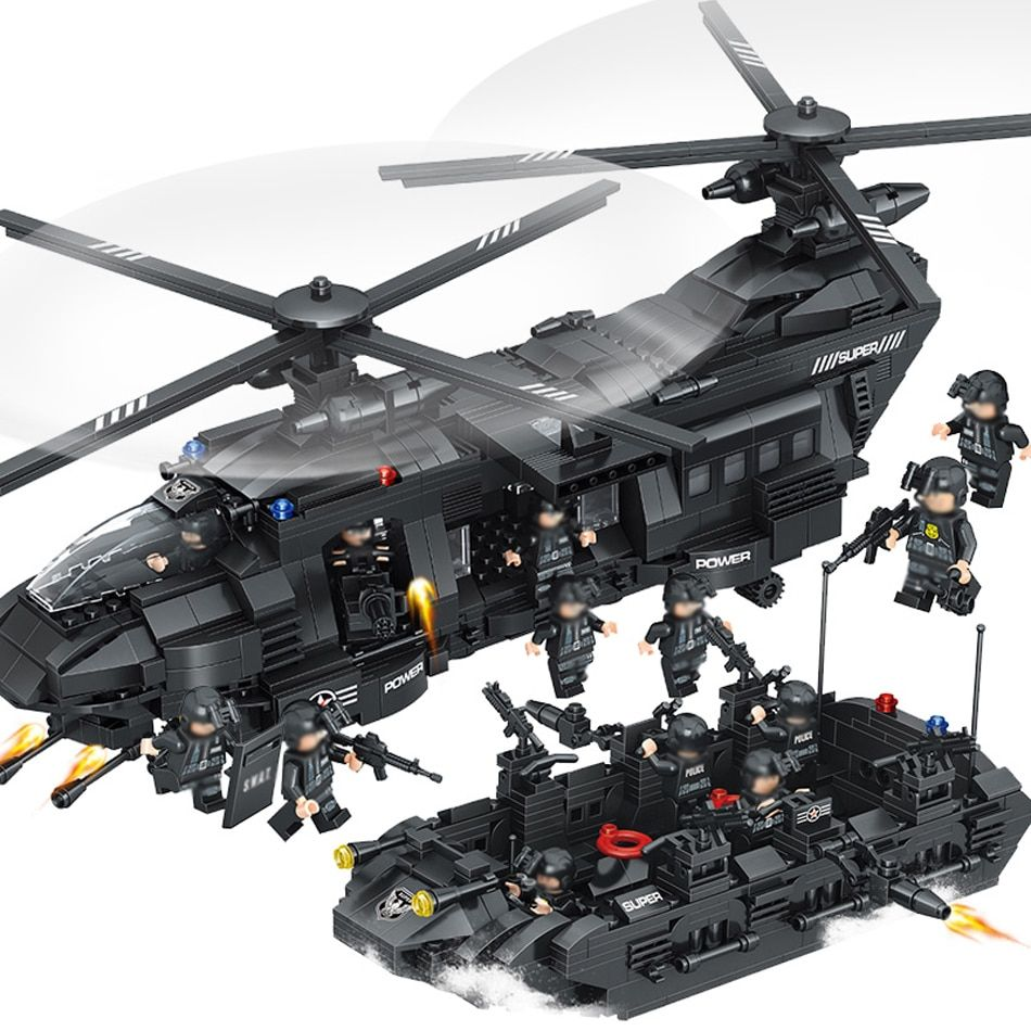 1351pcs Large Building Blocks Sets SWAT Team Transport Helicopter Compatible Legoed SWAT City Police Gift Toys for Children Kids