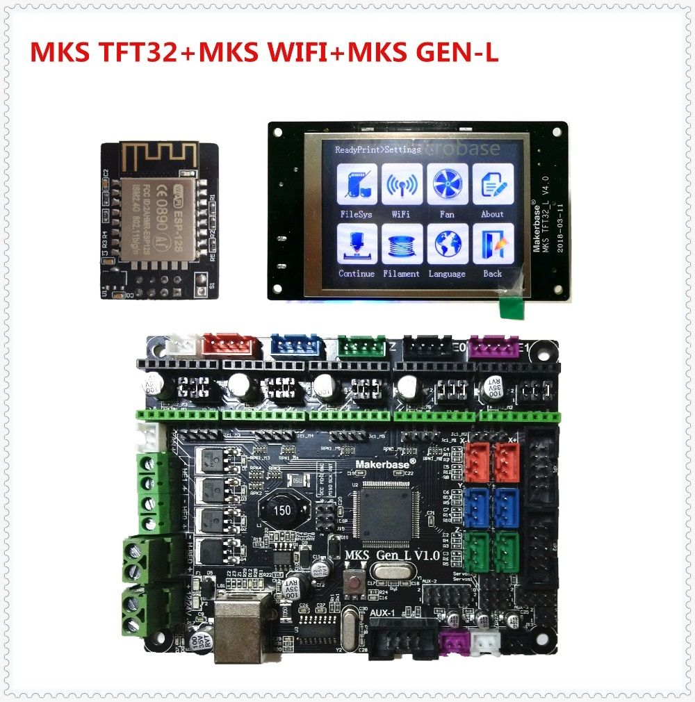 MKS GEN L + MKS TFT32 V4.0 LCD touching display + MKS WIFI module cheap 3D printer electronic built-up parts