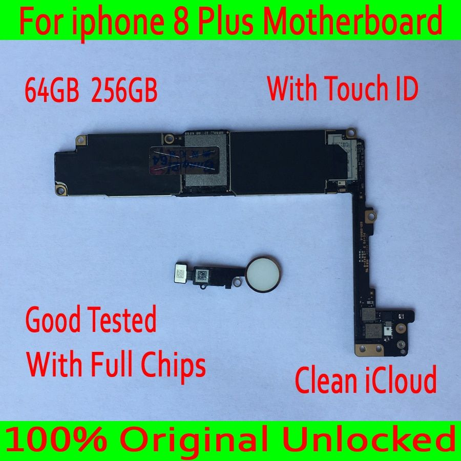 For iphone 8 Plus Motherboard With Touch ID/Without Touch ID 100% Original unlocked for iphone 8 Plus 8p Logic board+Chips