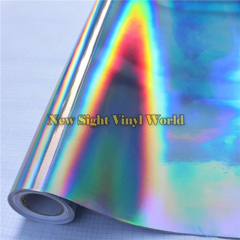 Best Quality 3 Layers Rainbow Chrome Silver Holographic Vinyl Wrap Decal Bubble Free For Car Wrapping
