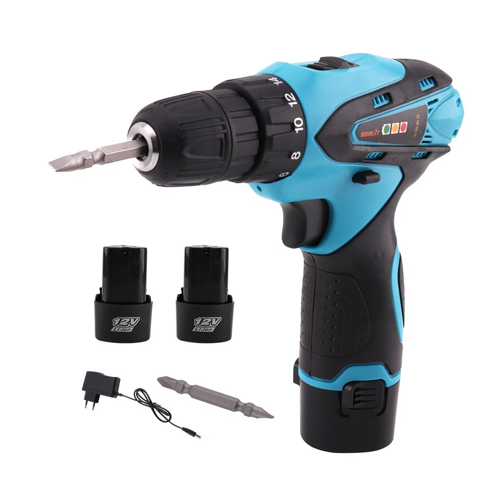 BORUiT Electric Screwdriver Cordless Electric Drill Multi-function Power Tools with 2 Rechargeable 12V Lithium Battery