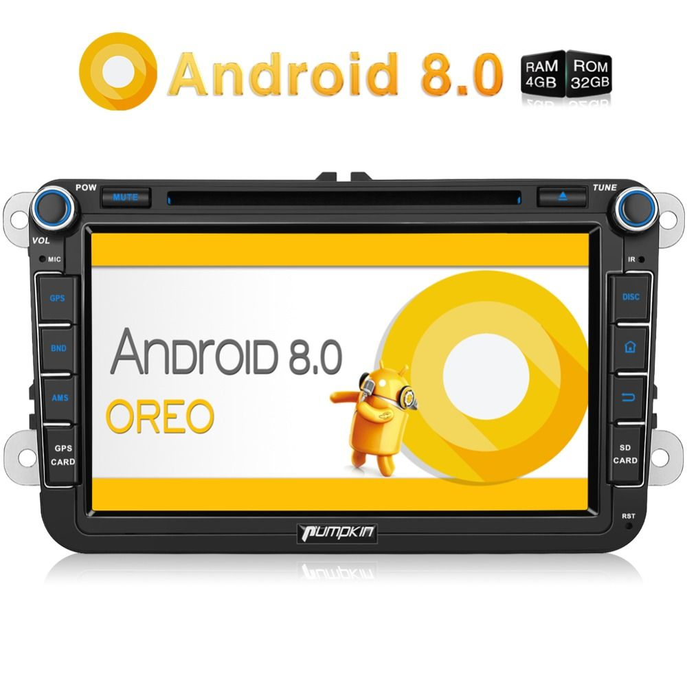 Pumpkin 2 Din 8'' Android 8.0 Car Radio DVD Player GPS Navigation For VW/Skoda/Seat/Golf Car DVR 4GB RAM Wifi 4G FM Radio Stereo