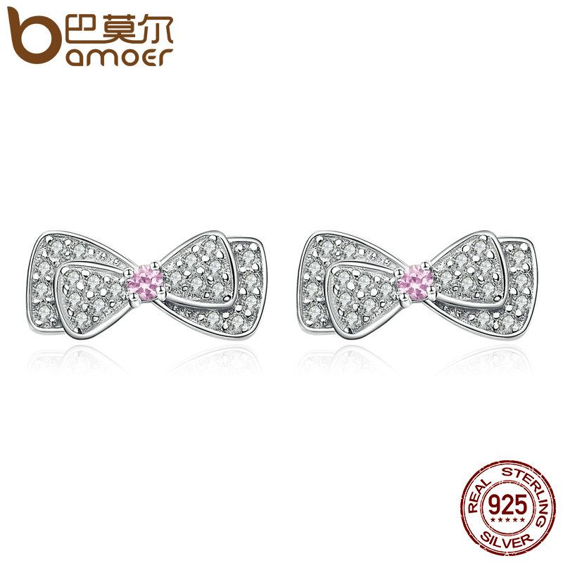 BAMOER Hot Sale Genuine 925 Sterling Silver Shimming Pink CZ Bowknot Stud Earrings for Women Brincos Fine Jewelry Bijoux SCE092
