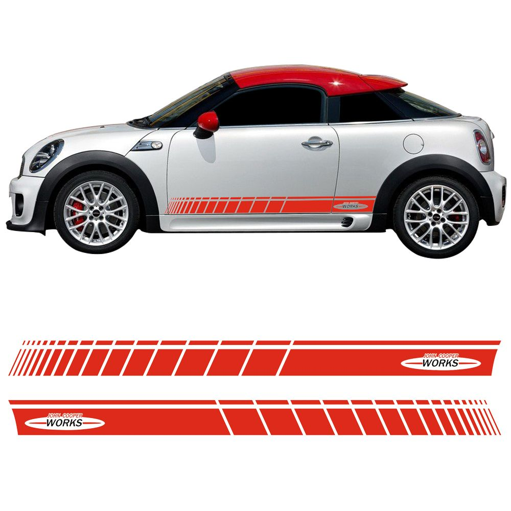 Car Styling Door Side Stripe Skirt Sticker Graphic Decal for Mini Cooper Coupe R58 R59 R56 F56 John Cooper Works JCW Accessories