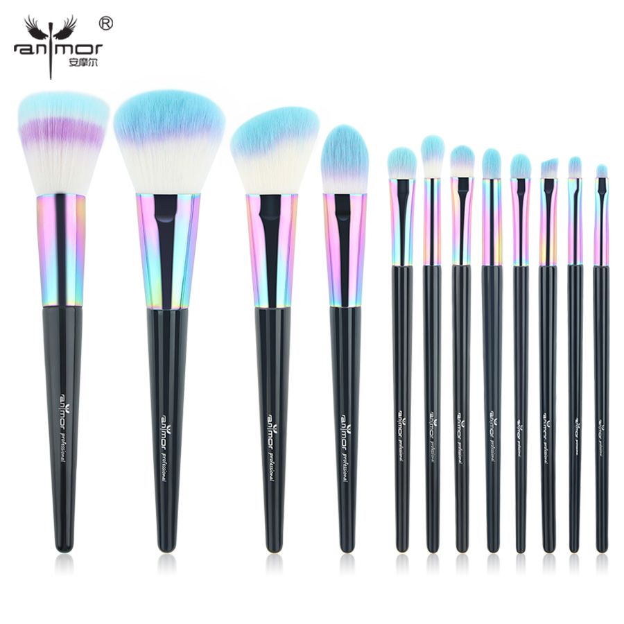 Anmor Arc-En-Maquillage Brosses 12 PCS Synthétique Fondation Poudre Blush Fard À Paupières Eyeliner Professionnel Make Up Brush Set CF-840